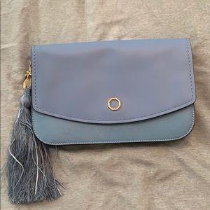 Louise et Cie blue leather clutch